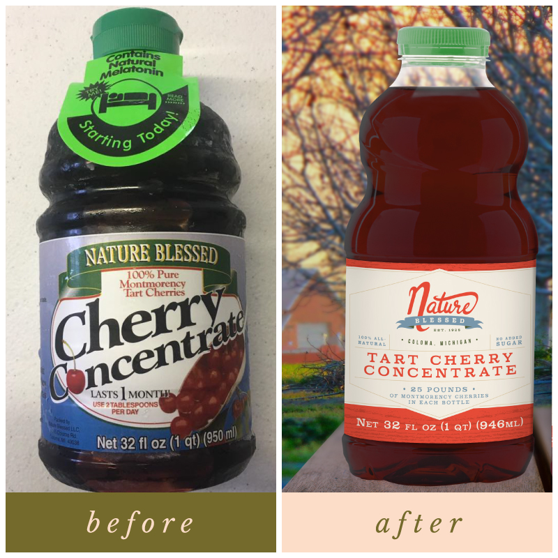 before and after of Nature Blessed's Cherry Concentrate packaging