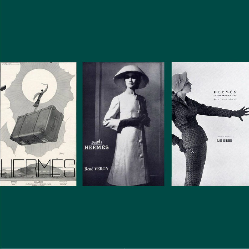 comparison of vintage Hermés advertisements with different logos